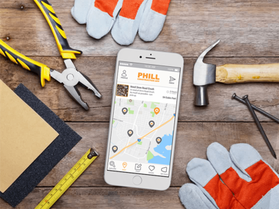 Phill App ui map portfolio phone mockup iphone ios logo design application app android