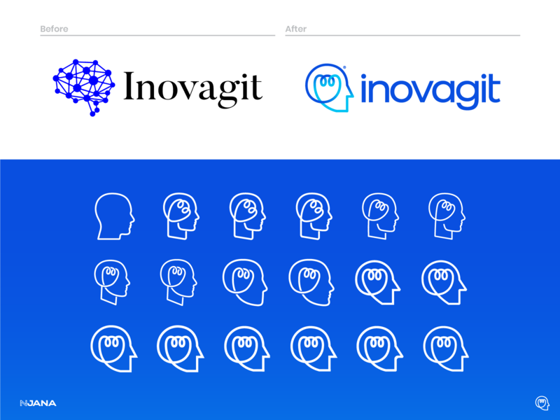 Inovagit Rebrading - Corporate Identity Design - Before & After before and after process visual element technology redesign pattern monoline logodesign logo line bulb light head branding brand blue