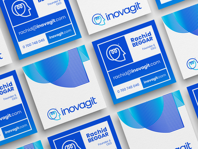 Inovagit Rebrading - Corporate Identity Design - Business Cards square business card square business cards visual element technology redesign pattern monoline logodesign logo line bulb light head branding brand blue