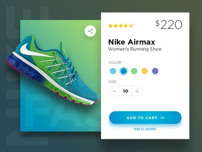 Levitating Product Card glossy clean redesign nike add to cart ecommerce product card
