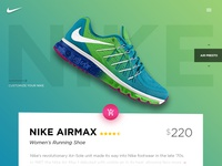 Nike Landing Page Concept green products arrows cart shoes product page ecommerce nike landing page