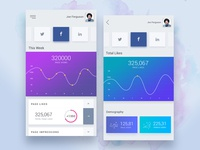Mobile Stats Exploration dashboard ux ui mobile line graph colors chart statistics stats analytics
