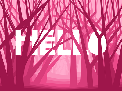 Hello egg typography trees forest illustration first shot hello thanks debut invitation dribbble