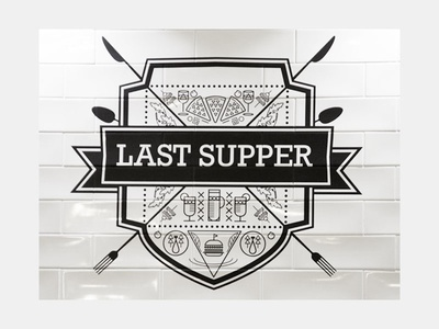 Last Supper (Logo applied on wall) pub last supper brand physical logo
