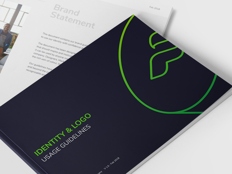Brand Guide Cover colour typography fintech symbol icon logomark logotype identity finance brochure stationaries branding