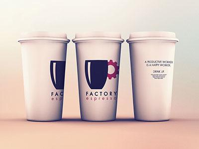 Factory Cups mockup minimalist branding logo