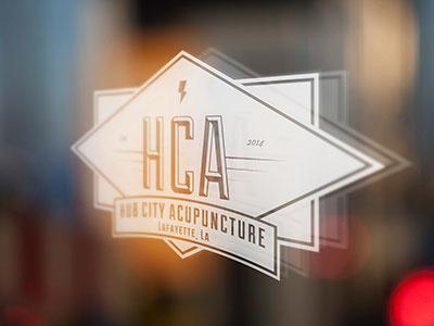Hub City Acupuncture Logo Decal americana vintage branding logo
