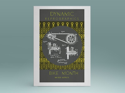 Dynamic Reprographics Bike Month Poster bicycle blueprints typography art deco poster branding design