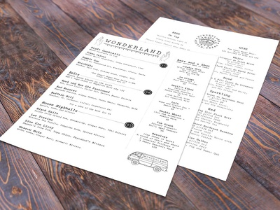 Wonderland Bar Menu print menu branding design