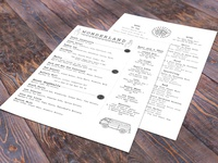 Wonderland Bar Menu