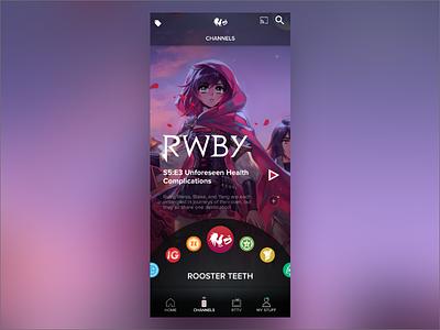 Rooster Teeth App Channel Wheel Concept native app ux ui