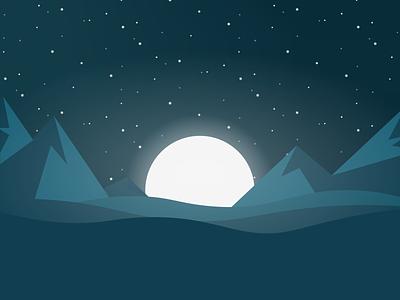 Night Landscape illustration ziprecruiter dark hills mountain stars moon landscape night