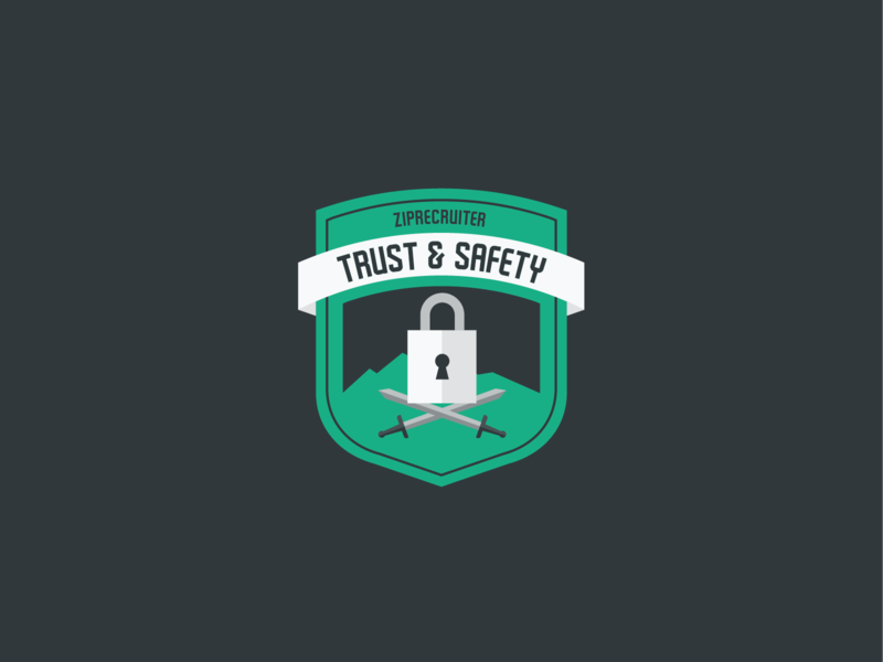 Trust And Safety Shirt Design illustration ziprecruiter brand and identity ribbon swords sword locked lock shield logo shield badgedesign badge logo badge safety trust trust and safety