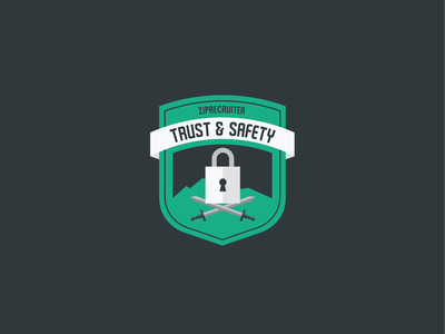 Trust And Safety Shirt Design illustration ziprecruiter brand and identity ribbon swords sword locked lock shield logo shield badgedesign badge logo badge safety trust trust and safety