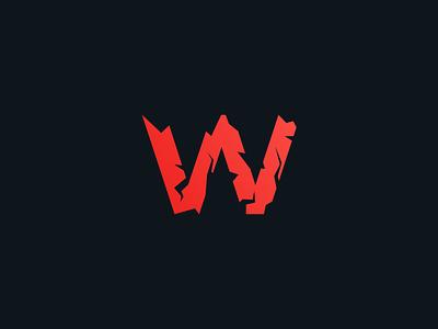 Cracked W geometric crack break w clean black red branding design icon identity logo logotype mark minimal w letter symbol vector simple minimalist