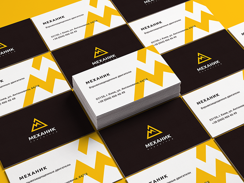 Business card for Mechanic Ltd. triangle simple minimalist lightning identity graphics geometry electric card business branding
