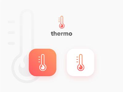 Thermo hot thermometer fire flame heat warm gradient vector modern minimal mark logotype logo identity icon design branding