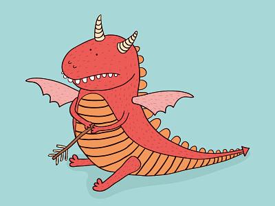 Slay a Dragon Day cute dragon character illustration