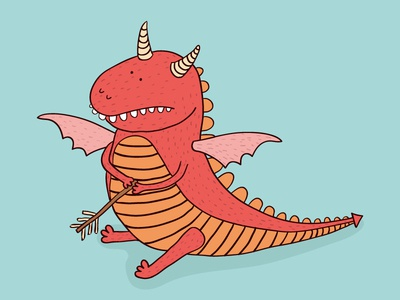 Slay a Dragon Day cute dragon character illustration