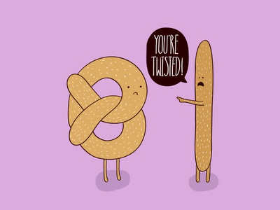 National Pretzel Day greetings card illustrator cute pretzel character illustration