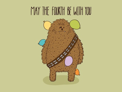 May the 4th be with you  may the force be with you daily doodle star wars day star wars illustration chewie chewbacca