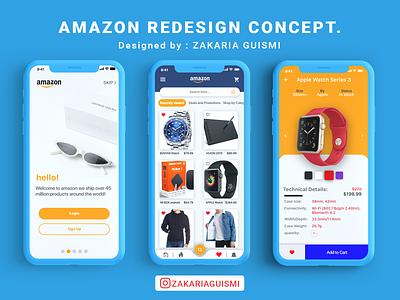 Amazon App UI/UX redesign concept orange adobexd user experience userinterface buy shopping shop app redesign amazon landing illustration home graphic landing page interface ui ux screen design