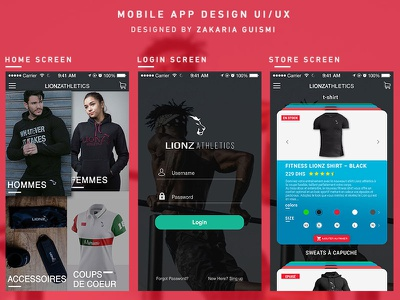 Mobile App Design UI/UX screen home login iphone ios athletics application mobile app store ux ui