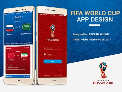 Fifa world cup (russia 2018) app design android ios screen home fifa world cup login 2018 russia app mobile uiux