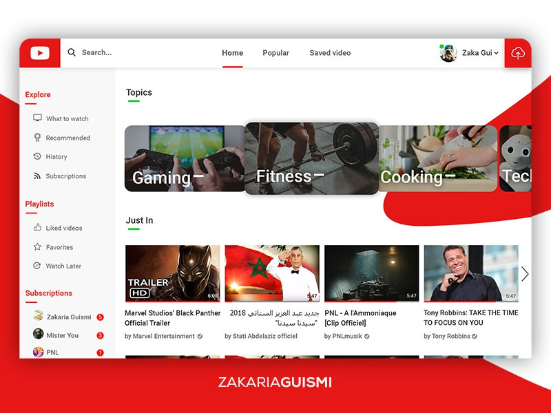 Youtube Redesign (Home screen) by Zakaria Guismi on Dribbble