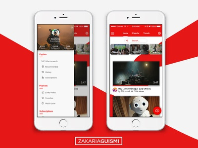 Youtube Redesign ( Mobile App ) ios youtube redesign uiux graphic design user interface home screen landing page