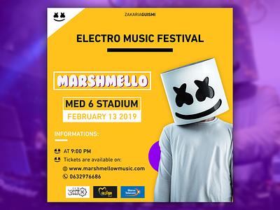 Marshemllo event poster Yellow version trending trends graphic branding vector yellow music music album event composition affiche marshmello typogaphy poster illustration design