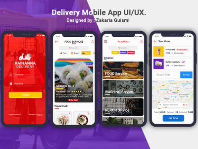 Delivery App UI/UX xd photoshop food app delivery app redesign app delivery uiux landing home logo interface ios landing page screen ux ui design