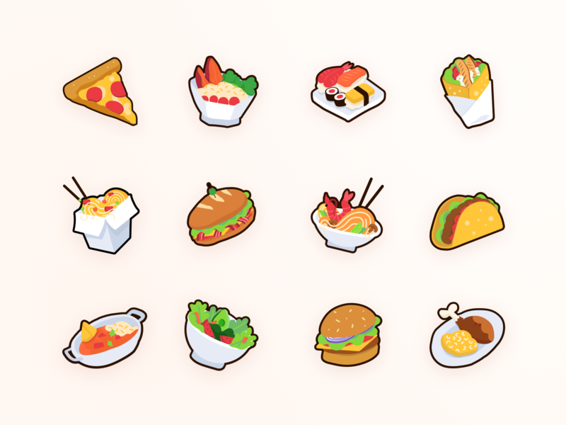 Food Icons for Lunch App bread food icons burger taco sushi pizza illustrator ui design illustration