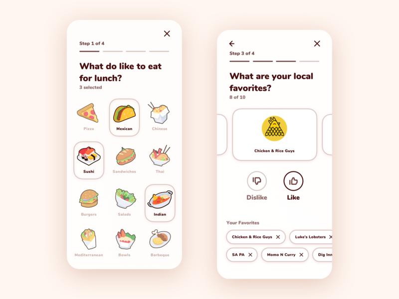 Food App UI food app interaction interaction design illustrator illustration burger taco pizza app ui app design design ui