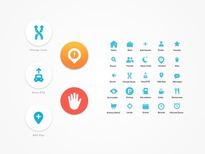 Waze Redesign - Iconography iconography icon design visual design app design ux ui redesign waze