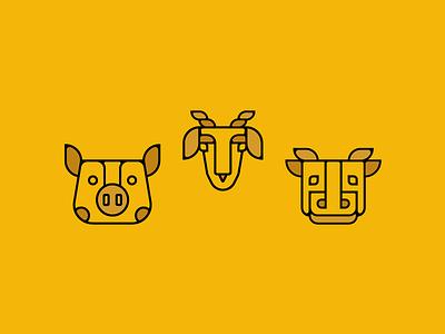 Farm animal icons animals iconography illustration icons