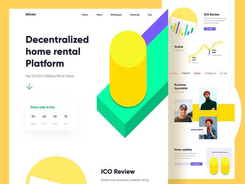 Rental Platform landing page business building illustration icons android ios app decentralization review ico 2020 trend clean visual ui ux designer landing landing page