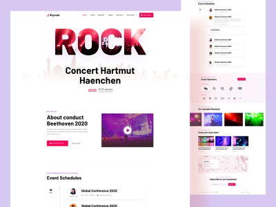 Music keynote neumorphism minimal 2020 clean trend ux ui website book ticket speak tech business joomla concert party music template event