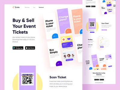 Event app Landing android apps website onboarding scan white 2020 trendy minimal clean landing page design free event landing