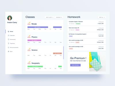 Study planner web-application add class classes studyfromhome school student assignment class teacher home-work plan manage management study