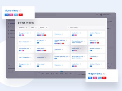 Widget Page of Social Media Marketing Platform minimal ux ui social-app social media platform marketing influencer media social widget