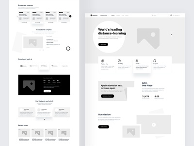 LMS Web-Page Wireframe gray black interaction visual wireframe template designer ui ux instructor teacher learning online website concept design