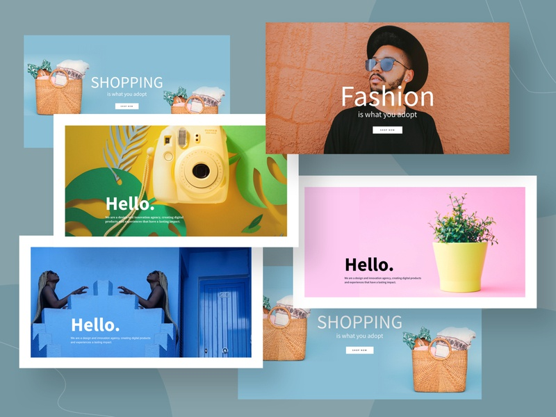 Hero exploration shopping agency restaurant fashion header concept design minimal hero