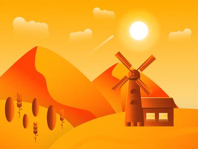 Desert with windmill