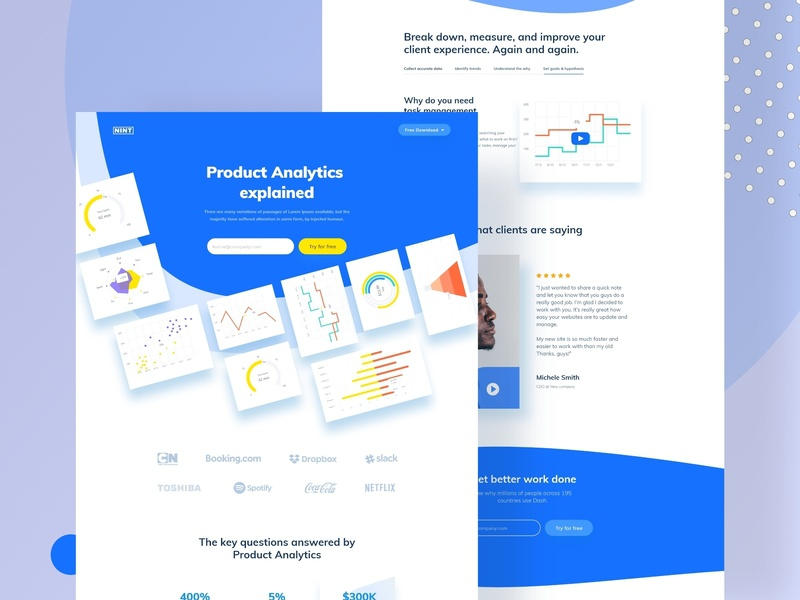 Landing page concept data chart blue minimal header styleguide brand ux ui hire redesign website dashboard web-app landing design e-commerce mockup illustration landing page web design