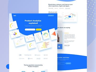 Landing page concept data chart blue minimal header styleguide brand ux ui hire redesign website dashboard web-app landing design e-commerce mockup illustration landing page web design