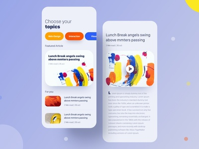 News & Article app page concept