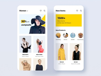 iOS Women's Clothing App Screens Design