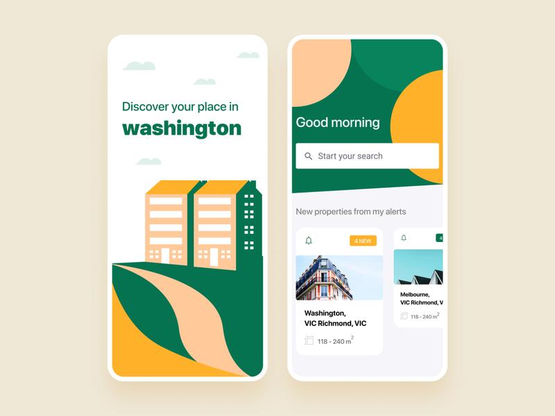 Real estate app UI design trendy 2020 minimal fresh application app design apps real estate green colors clean app