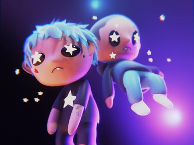 Seeing Stars album art rewind chibi anime character 3d blender